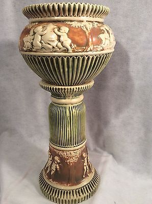 Large Antique Roseville  Planter/vase With Stand