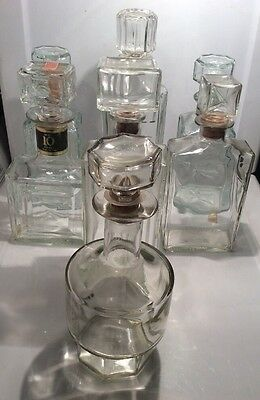 Vintage Lot Of 7 Clear Glass Empty Liquor Bottles/Decanters