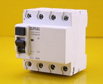 Clipsal RCD440/30 RCD Safety Switch 415V 3 Phase 40A 30mA 4P 4 Pole AC MAX 4