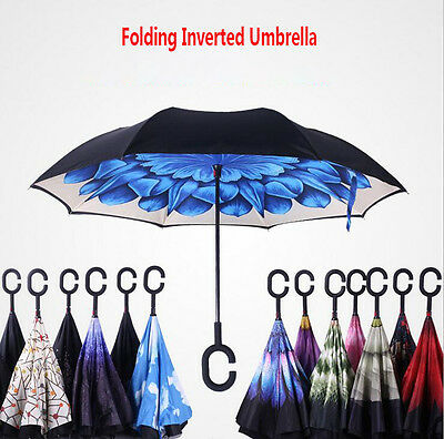 C-Handle Folding Inverted Umbrella Double Layer Windproof Upside Down Reverse