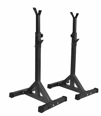 Pair of Adjustable Standard Solid Steel Squat Stands Barbell Free Press Bench NR