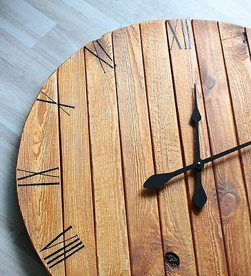 Hand Made Reclaimed Pallet Wood Wall Clock Industrial Vintage Rustic Shabby