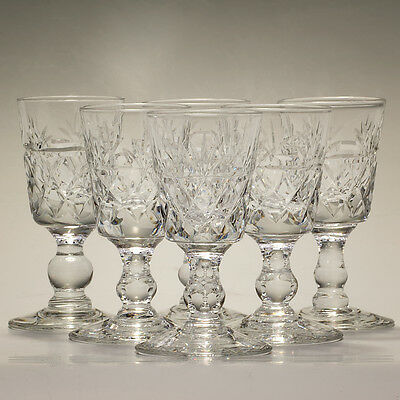 """Royal Brierley Crystal Bruce Six Liqueur Glasses Height 3"""" Signed"""