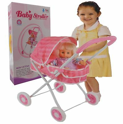 Girls Toy Pink Buggy Pram 4  Wheeler Pushchair Doll Stroller Children's With Dol