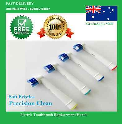 Precision Clean Electric Toothbrush Heads Oral B Compatible Replacement x 4