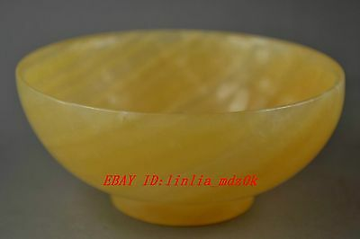 Old China Collectibles Handwork Yellow Jade Burnish Noble Good Lucky Usable Bowl