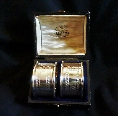 George V Hallmarked Silver Cased Pair of Napkin Rings by William Adams Ltd. 1934