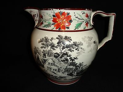 Antique 19th.c Staffordshire Black Transfer Hand Decorated Pitcher, Jug