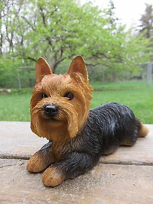"""Yorkshire Terrier Lying Down Puppy Dog Figurine Statue Resin Pet 7"""" L Canine"""