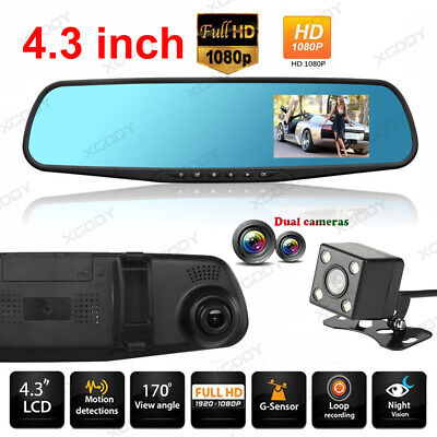 "7"" FHD 1080P Dual Lens Auto Rearview Camera Video Dashcam Recorder Kamera DVR DE"