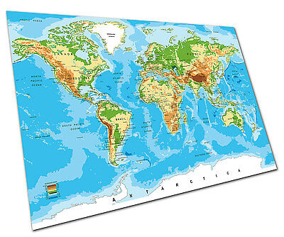 World Map Atlas Wall Art Large A1 Poster 33 X 23 Inch
