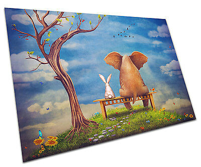 Rabbit And Elephant On Bench Wall Art Large A1 Poster 33 X 23 Inch