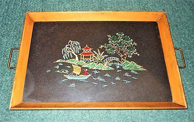 Antique Vintage Wood & Glass Embroidered Fabric Serving Tray