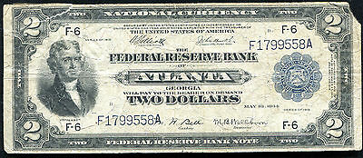 "Fr. 764 1918 $2 ""Battleship"" Frbn Federal Reserve Bank Note Atlanta, Ga"