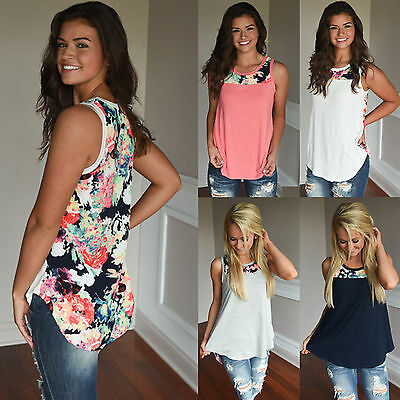 UK New Womens Sleeveless Floral Vest T-Shirt Ladies Summer Tank Tops Blouse 6-20