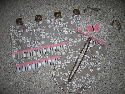 EUC Cocalo MIA ROSE Pink Brown Butterflies Pair of Valances Diaper Stacker