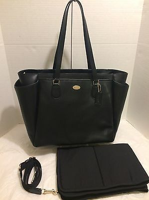 NWT! Coach Crossgrain Leather Black Baby Diaper Laptop Travel Tote Bag F35702