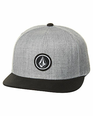 New Volcom Men's Quarter Snapback Cap Wool Acrylic Grey