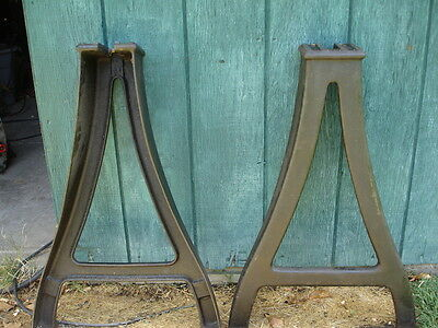 Pair of South Bend Lathe Cast Iron Legs Steampunk Vintage Table Industrial