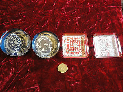 4 Paper Weights With Antique Lace Inside