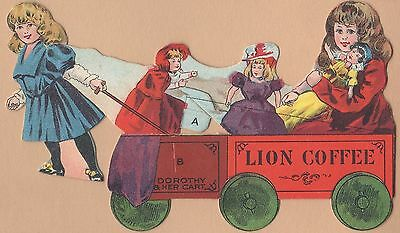 Trade Card-Lion Coffee-Woolson Spice Co of Toledo, OH-Diecut Girls, Cart & Dolls