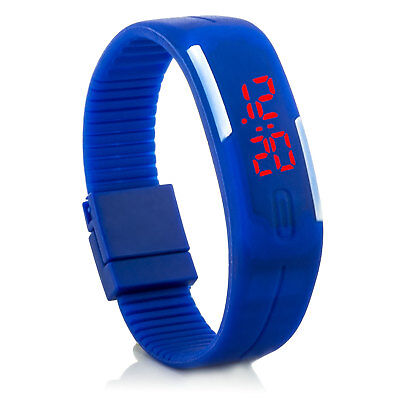 Digital Silikon LED Armband Uhr Armbanduhr Watch Herren Damen Kinder Blau Sport
