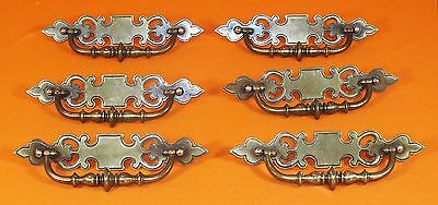 Set of 6 Vintage Canada CP 1919 Antique Brass Finish Drawer Pulls