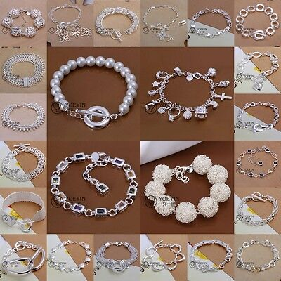 Wholesale Women/Men  Silver plated  Filled Bracelet Fashion New Bangle+925Box