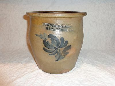 Antique Cobalt Blue Floral Decorated Stoneware Pottery Crock, Harrisburg,Pa. (j)
