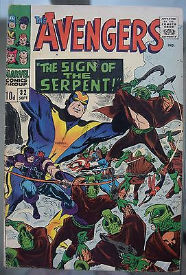 The Avengers #32 1966 Marvel The Sign Of The Serpent Silver Age Comic