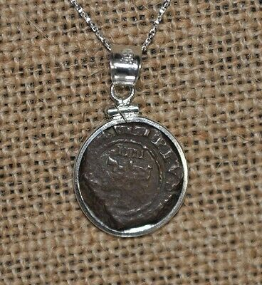Authentic 1621 Pirate Copper Cob 4 Maravedis Coin 925 Sterling Silver Necklace