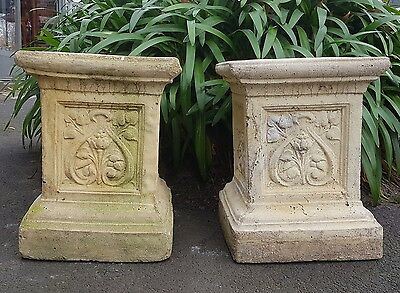 Original Pair of Antique Stone Garden Pedestals Circa 1915