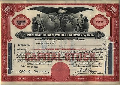Pan American World Airways Stock Certificate Airline AM Red Older