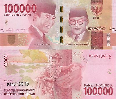 Indonesia 100000 Rupiah (2016) - New Series Issue/pNew UNC