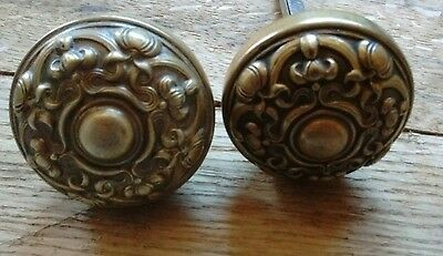 Antique Brass Victorian Eastlake Door Knob Set with Spindle - Art Nouveau