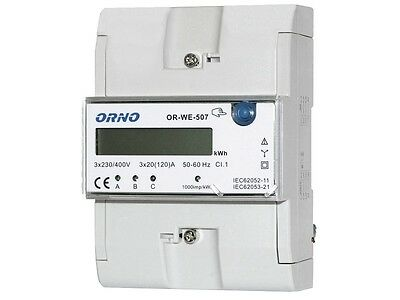 Electric Meter ORNO Rotation Counter for DIN Track 3P 3x20 (120) A or-we- 507