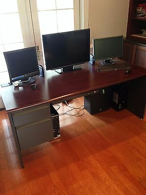 Hon Office Grey Steel and Mahogany Desk, Hutch and Credenza 72""