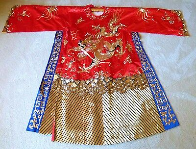 Chinese Embroidered Four Claws Big Dragons Robe Red Silk