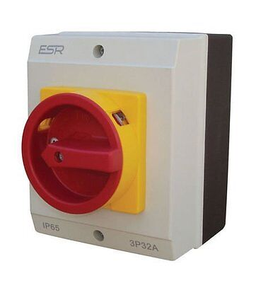 ESR Electrical E324P Switch Rotary Isolator Disconnector 4 Pole 32A IP65 Outdoor