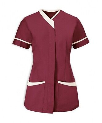 Asymmetrical Tunic Dental Salon Uniform. Maroon/burgundy With White Trim Ins33Mr