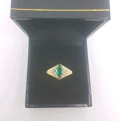 18ct yellow gold Natural Emerald and Diamond ring