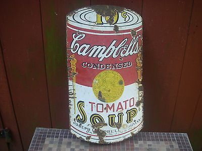 Rare Porcelain Sign Campbell's Soup Curved With Iron Bracket Early Warhol