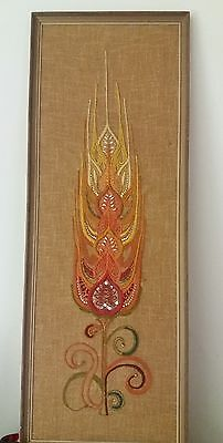 Vintage Panel Picture Embroidery/ Bead Fabric Framed Flower Wall Art
