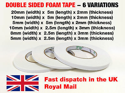 White Strong Double Sided Sticky Tape Foam Self Adhesive Craft Padded Mounting