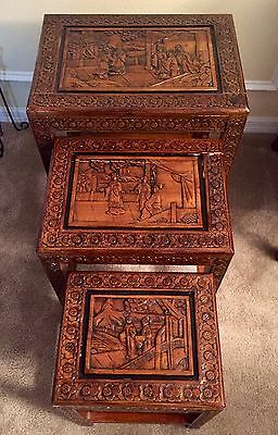Set of 3 Vintage Chinese Hand Carved Nesting Stacking End Tables