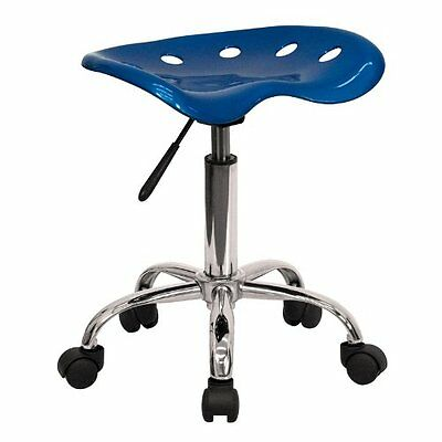 Adjustable Rolling Vibrant Bright Blue Tractor Seat Chrome Stool Polymer Chair