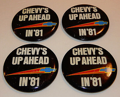 4 Chevy's Up Ahead In '81 Promotional Pin Back Buttons 1981 Chevrolet