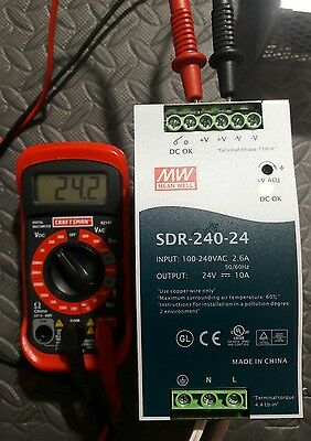 Mean Well SDR-240-24. Power Supply. Tested. 24.2 volts. Good condition. Used.