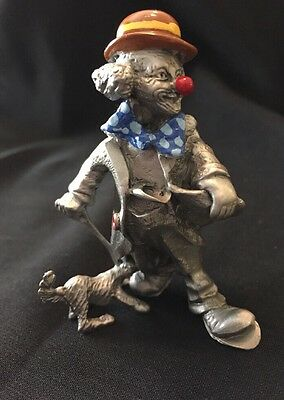 Vintage Pewter Clown Figurine w/ Red Nose, Bow Tie, Dog On A Leash -copyright MM