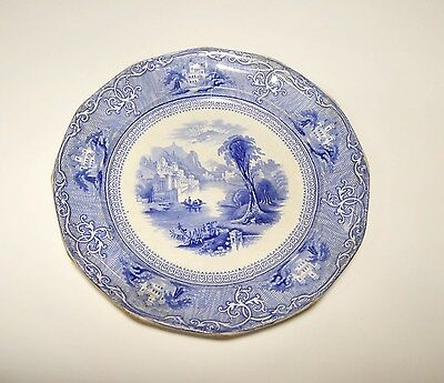 Ironstone flow blue plate or platter 8.5 inches.